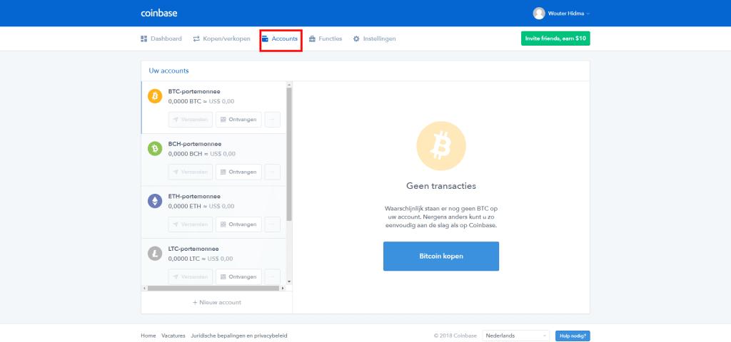 Stappenplan kopen en verkopen op coinbase: accounts