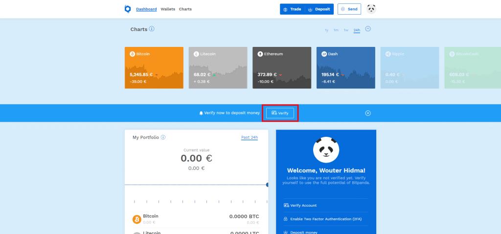 Stappenplan kopen en verkopen op Bitpanda: verificatie
