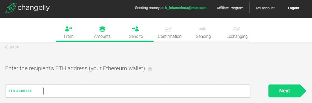 Stappenplan kopen en verkopen op Changelly: ontvangst adres Ethereum