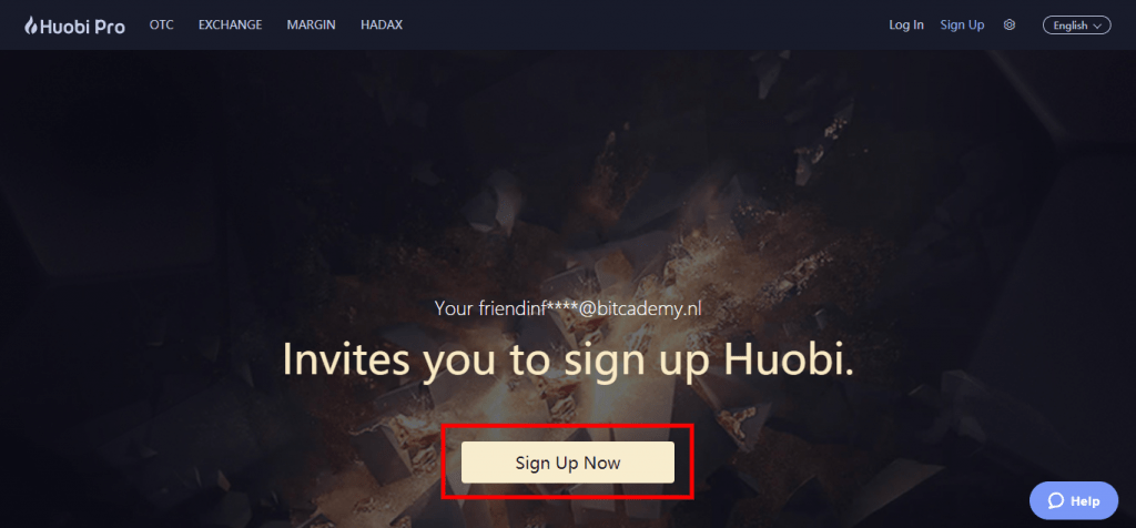 Stappenplan kopen en verkopen op Huobi: sign up
