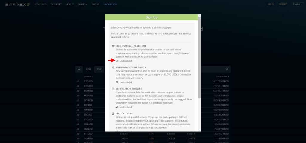 Stappenplan kopen en verkopen op Bitfinex: sign up