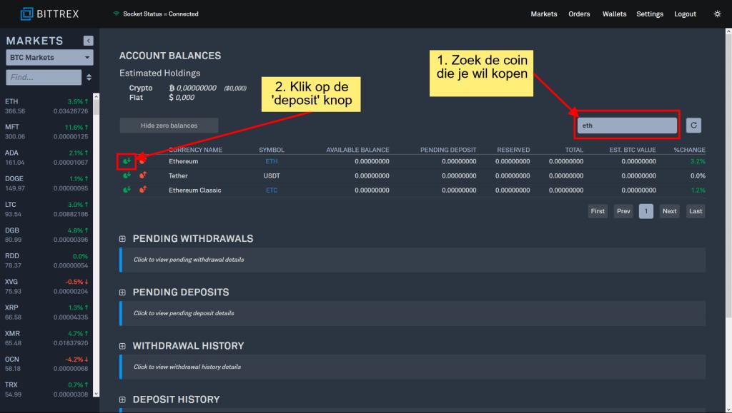 Stappenplan kopen en verkopen op Bittrex: geld op je account zetten